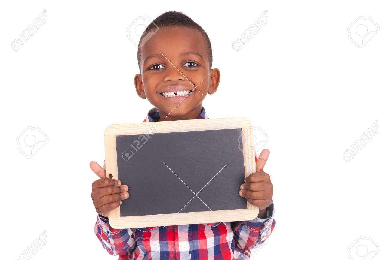 Adorable african little boy  with slate Stock Photo - 18789853
