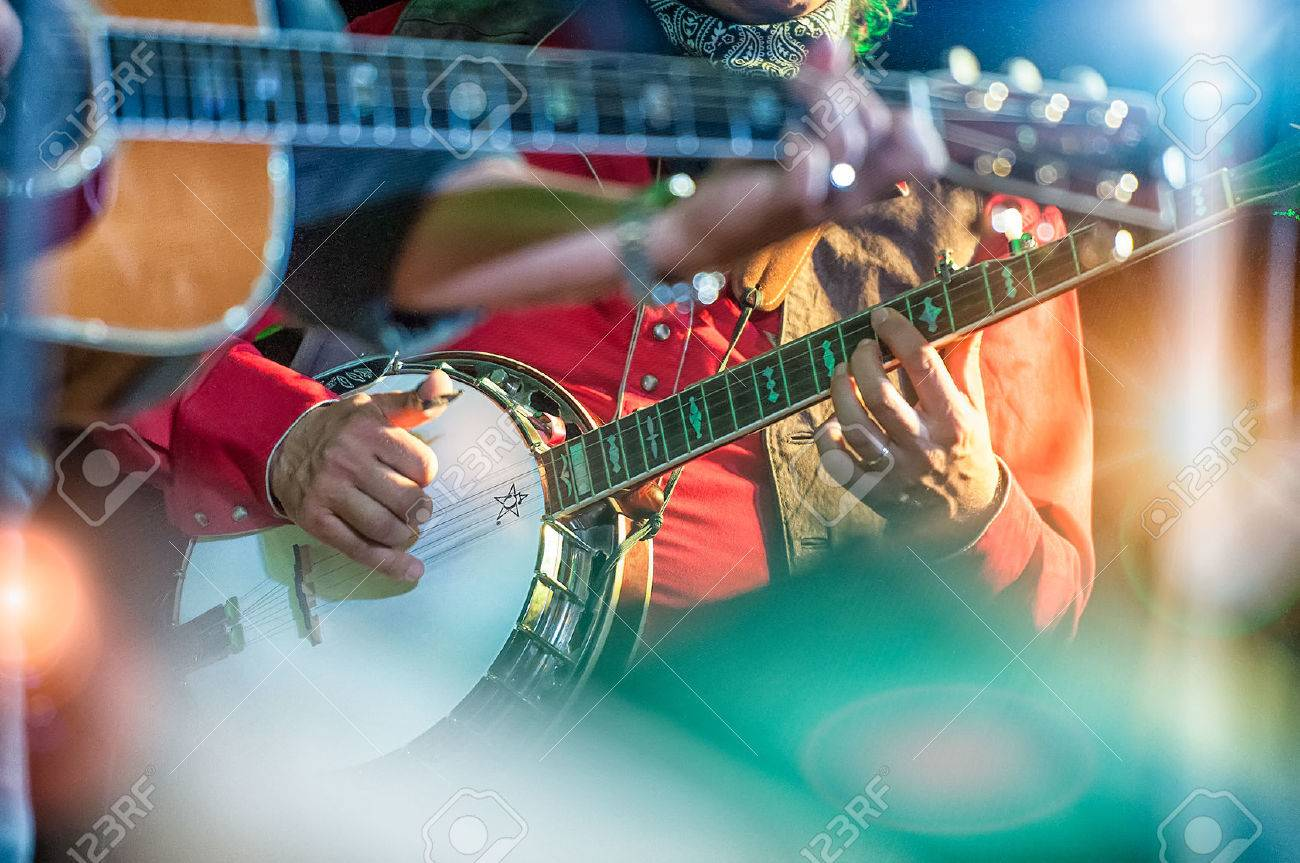 Banjo player in the country band Stock Photo - 34591476