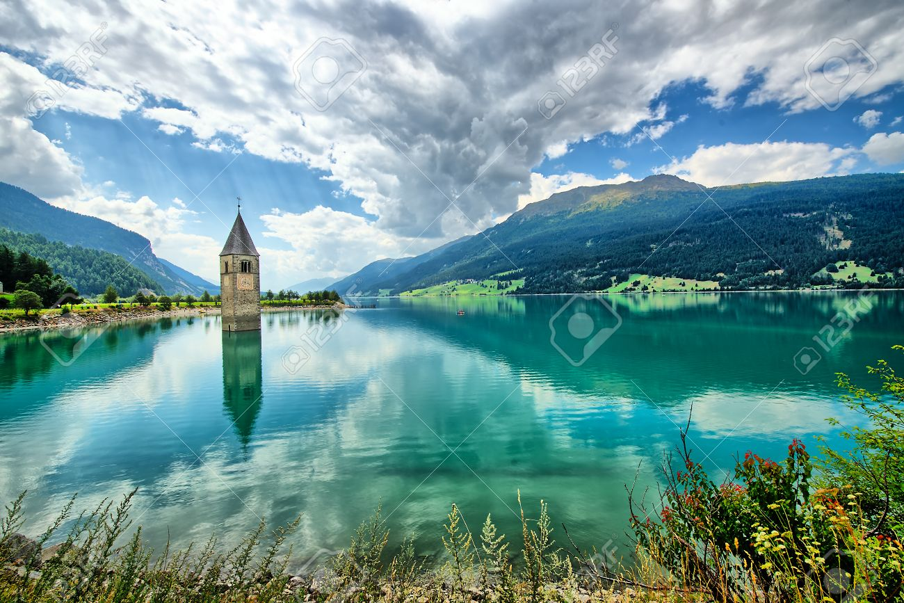 Bell tower of the Reschensee (Resia) South Tyrol Italy - 44351168