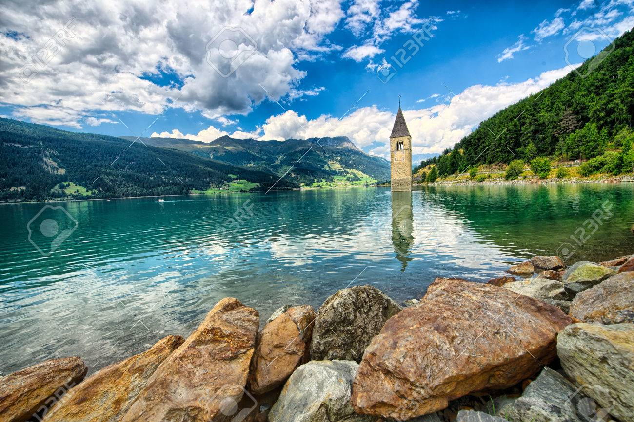 Bell tower of the Reschensee Resia in South Tyrol, Italy - 44440670