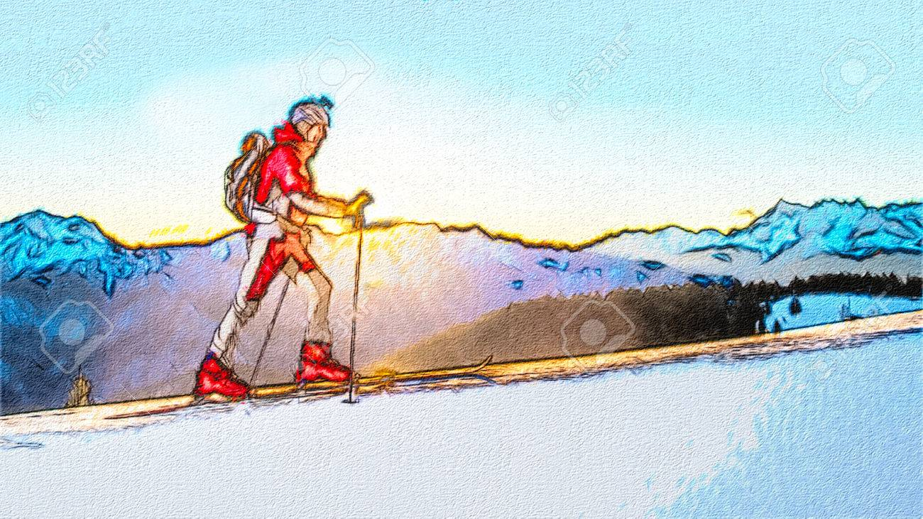 Skier Uphill Ski Mountaineering Drawing Style Stock Photo Picture And Royalty Free Image Image 69055829