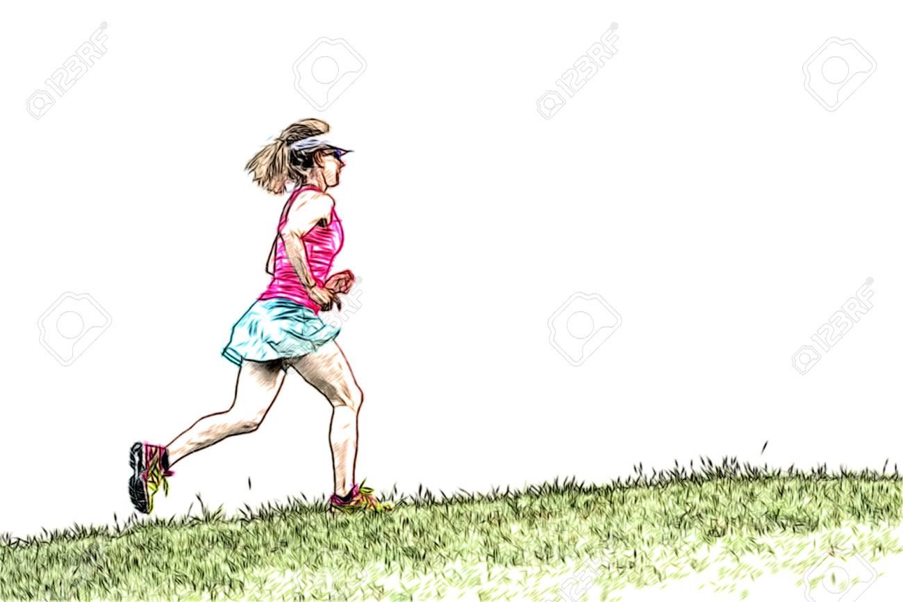 5c3376da0edcad Mädchen läuft auf der Wiese Zeichenstil Standard-Bild - 69055830