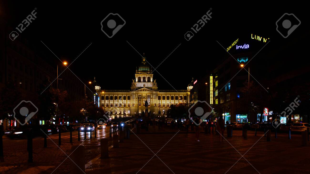 Prague, Czech Republic - 4 September 2019: The Prague National Museum at the end of the street at night - 134320038