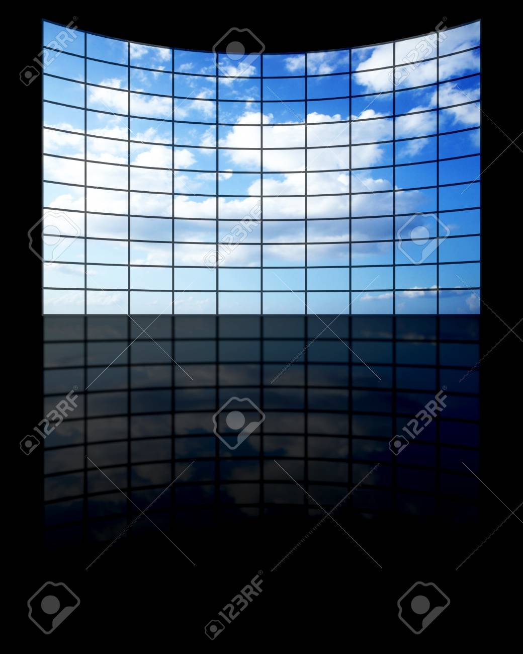 curve monitor with a blue sky and clouds Stock Photo - 3979544