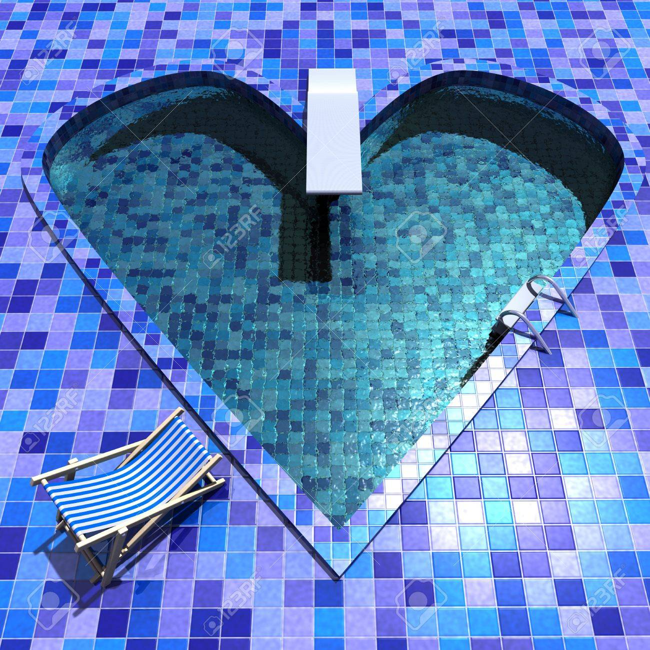 3d Rendering Of A Heart Shaped Swimming Pool Stock Photo   9820955