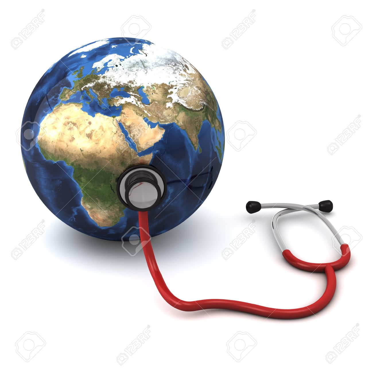 3d computer generated red stethoscope around a globe  heart  isolated on white background Stock Photo - 8828702