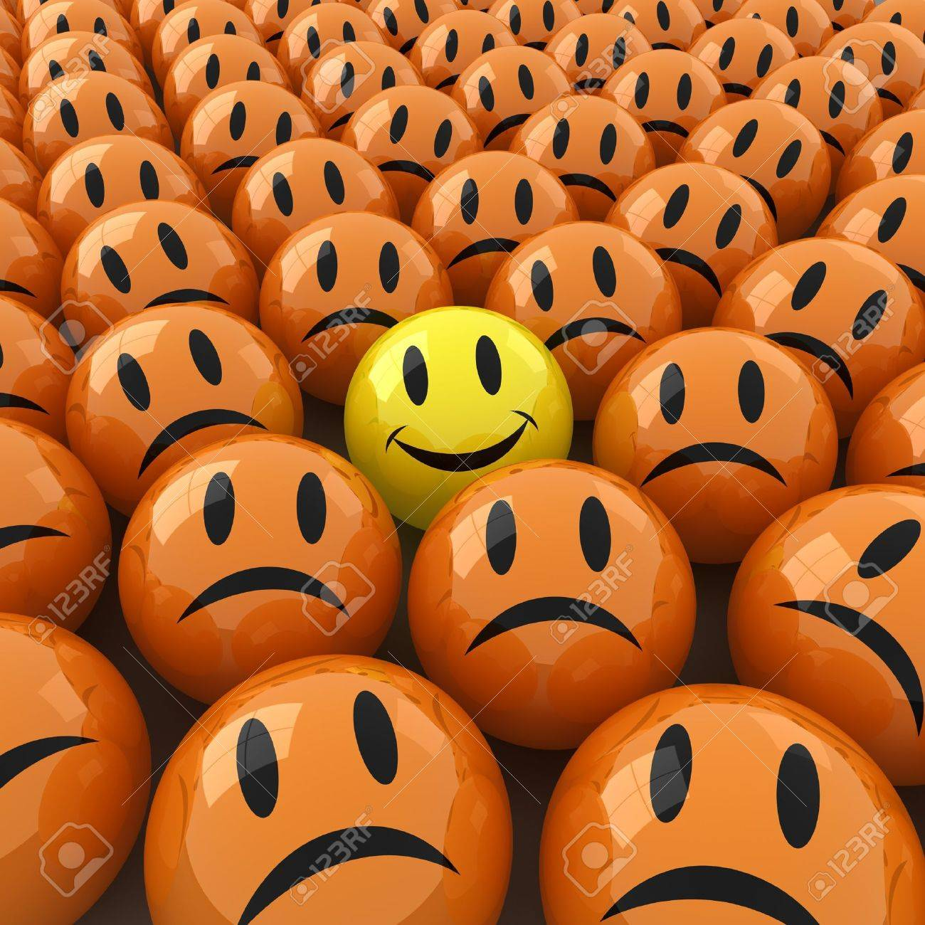 3d computer generated  image of a lot ofsad face around an happy one Stock Photo - 8828714