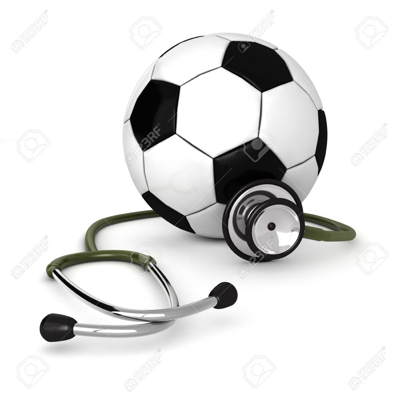 3d computer genrated image of a stethosocpe around a soccer ball isolated on white background Stock Photo - 8828691
