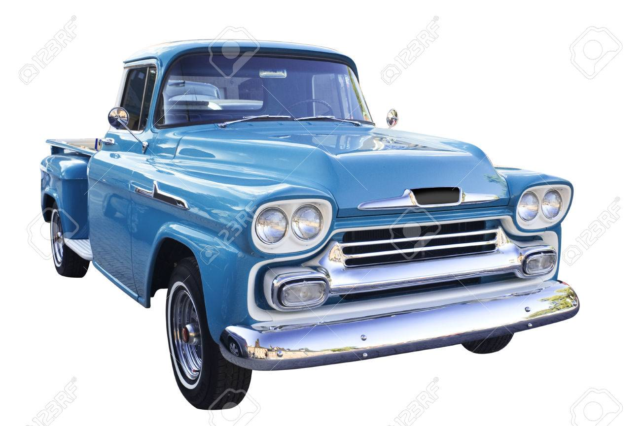 Classic Car On White Background Isolated Stock Photo Picture And