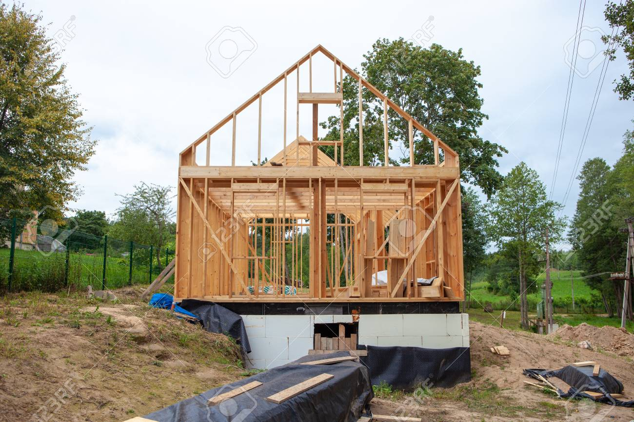 Stick built home under construction, new build roof with wooden
