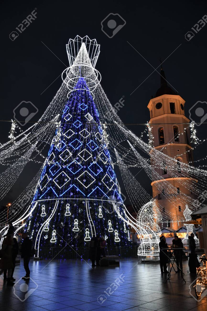 Beautiful Christmas Tree Decorated With White And Blue Lights Stock Photo Picture And Royalty Free Image Image 135735850