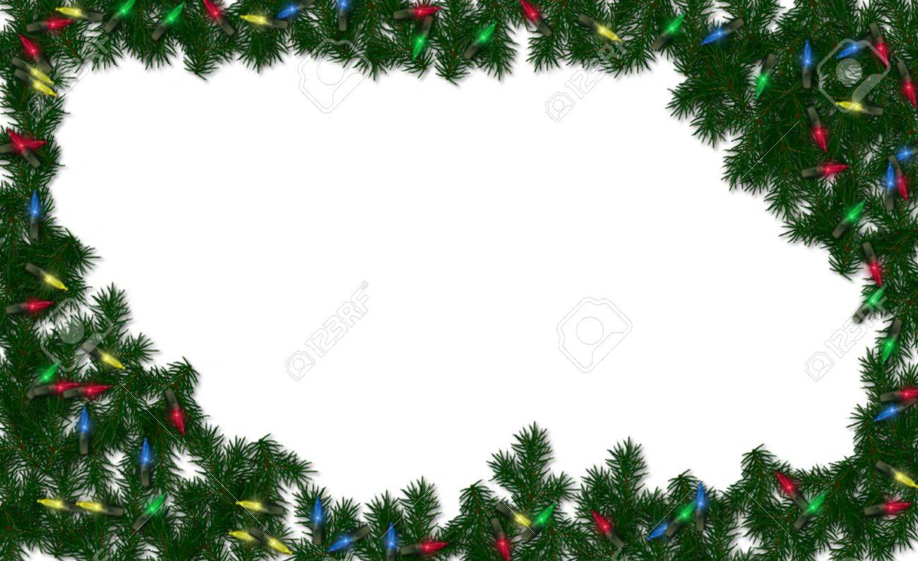 Christmas Greenery.Christmas Greenery And Lights Framed On A White Background