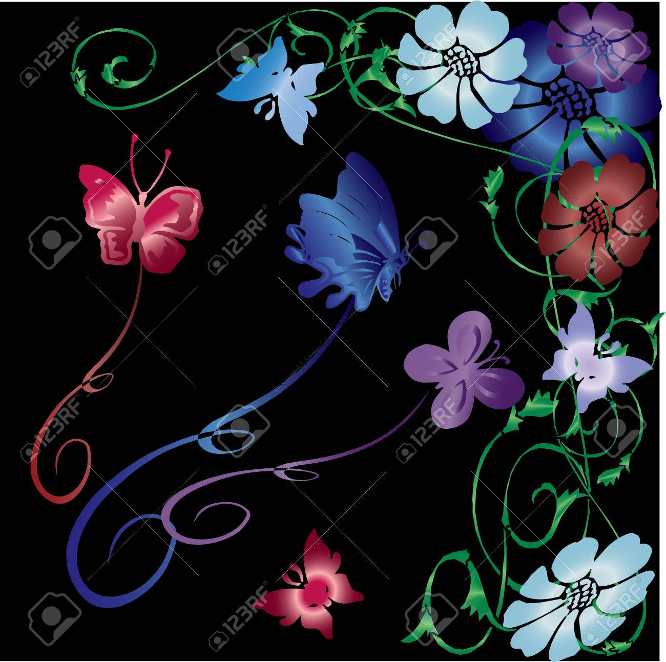 gradient colored vector flowers, butterflies and vines on black Stock Vector - 3872528
