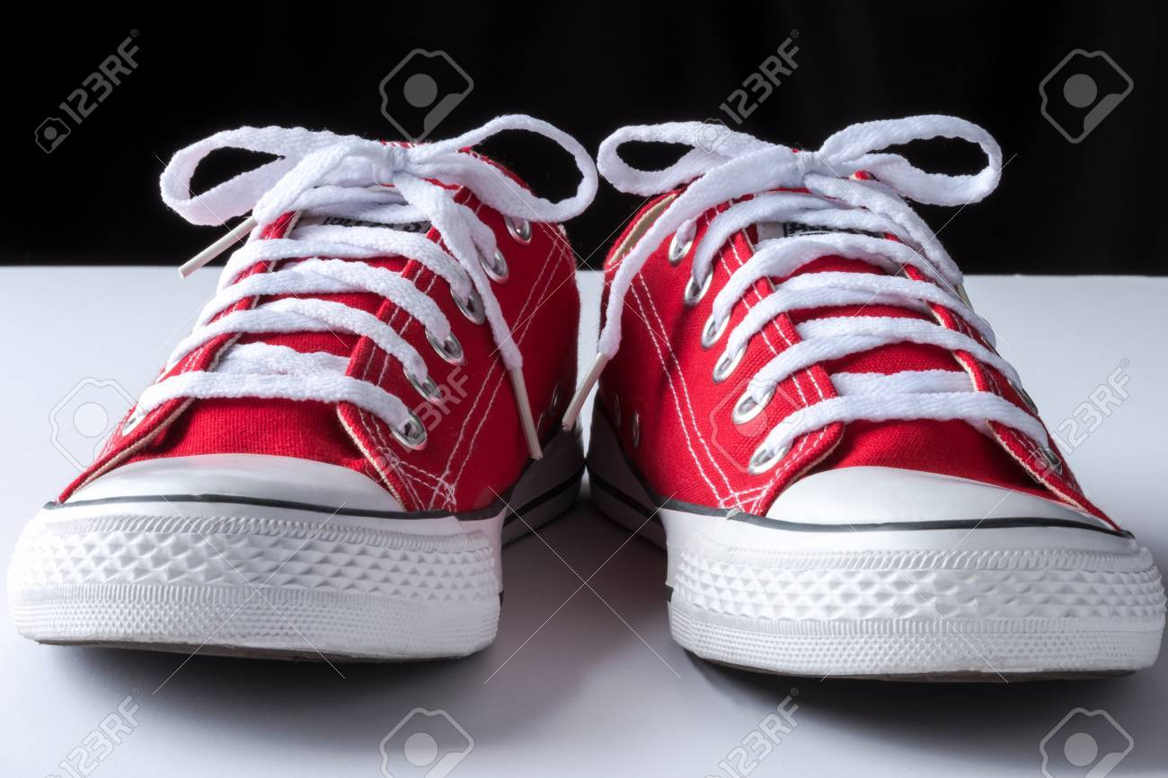 Pair Of Canvas Tennis Shoes Stock Photo