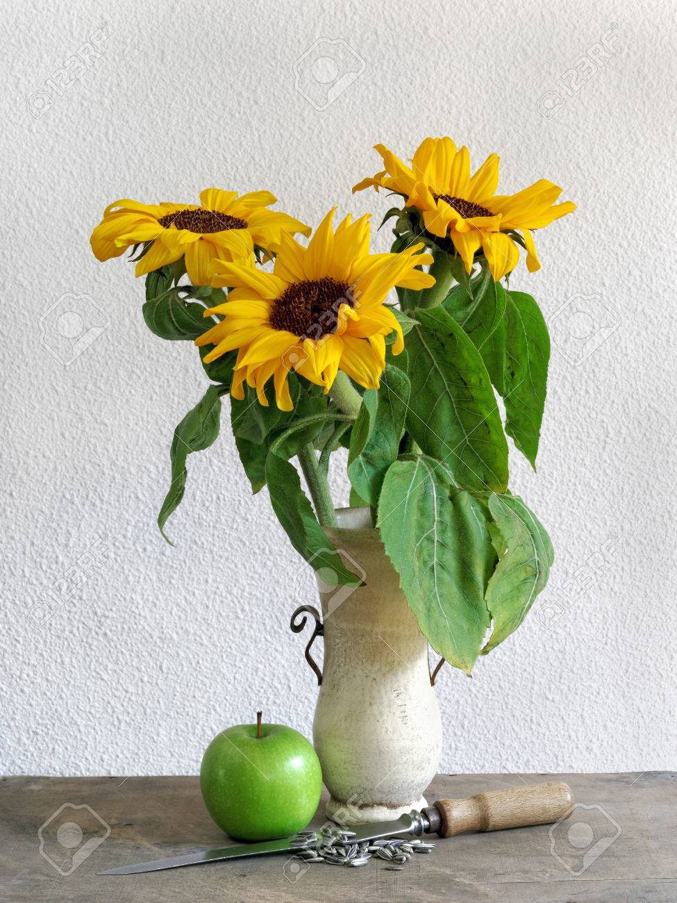 Decorative Still Life Of Sunflowers Stock Photo