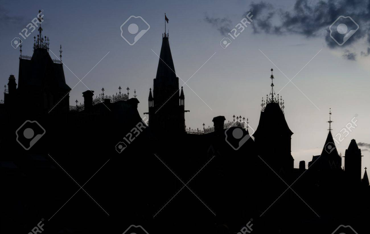 The canadian Parliament East and Centre blocks in silhouette against a blue twilight sky Stock Photo - 13294992