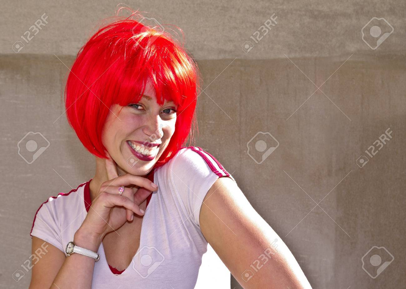 Young woman sporting a red bob for the Canada Day celebrations in Ottawa Stock Photo - 13731474