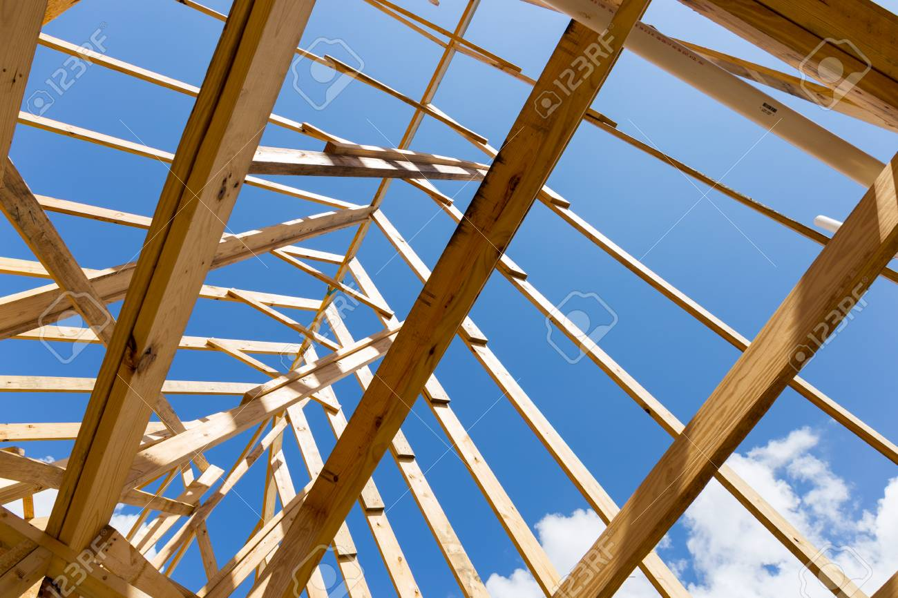 Single Family Home Construction - Building a New Wood Framed House - 92404872