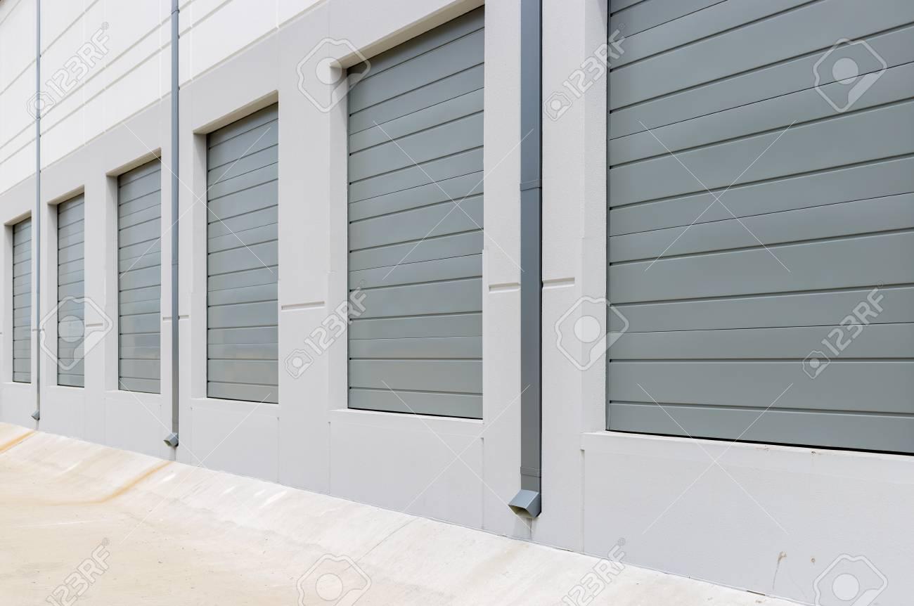 New Construction Warehouse Loading Dock White Walls Gray Metal
