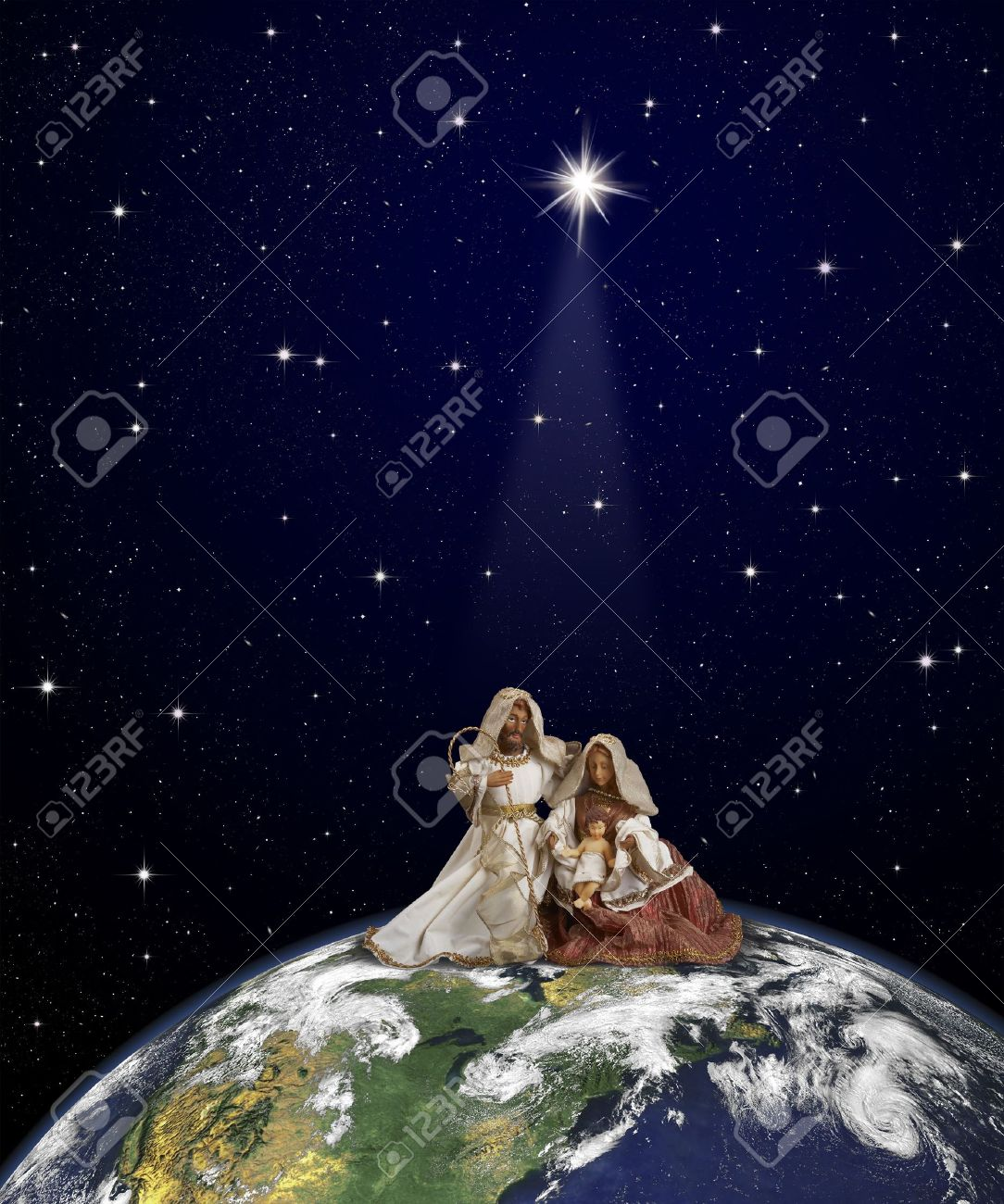 Nativity Scene With Jesus Maria And Joseph Sitted At The Top Of Globe On Thespace