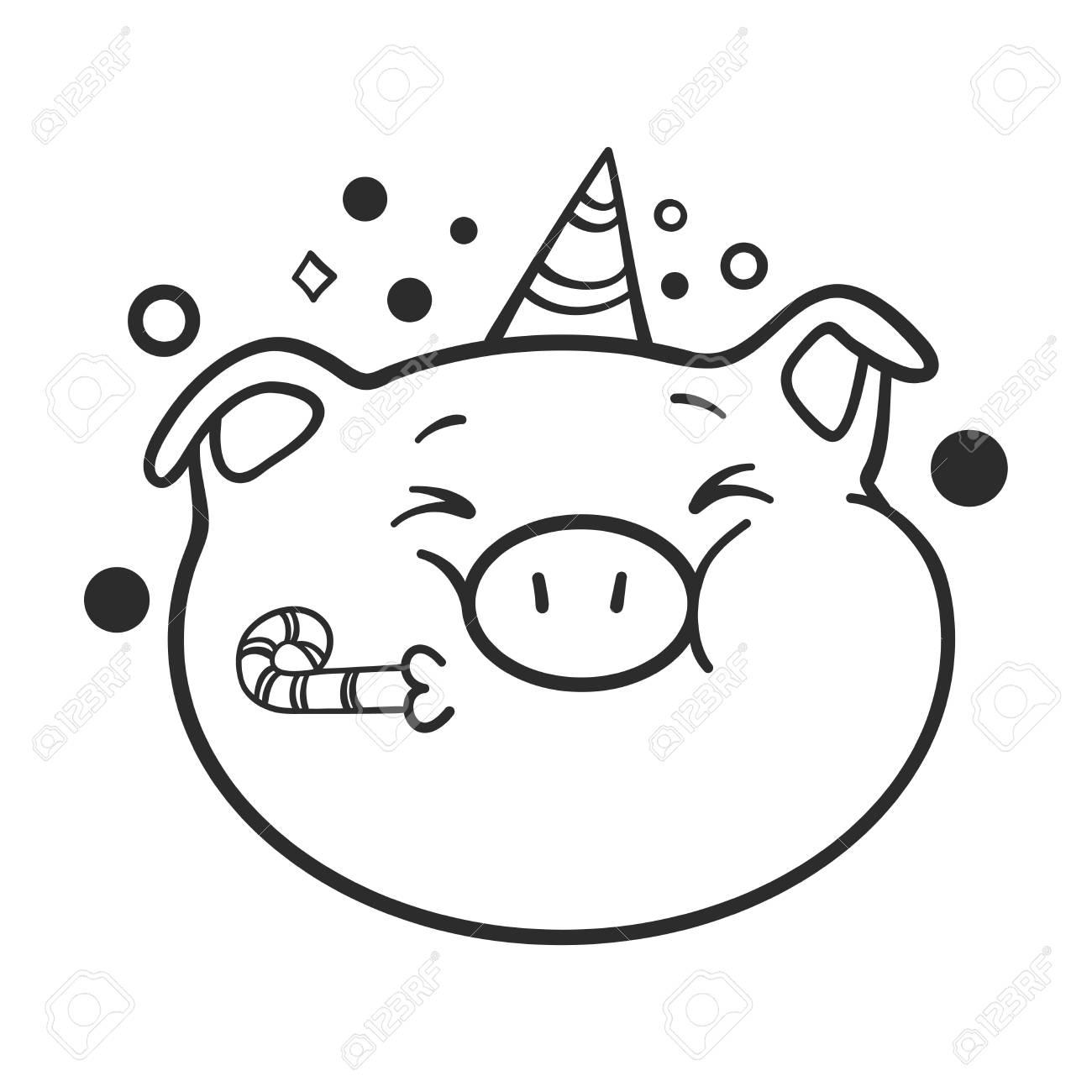 - Celebrating Emoticon Icon. Vector Illustration. Emoji Pig For