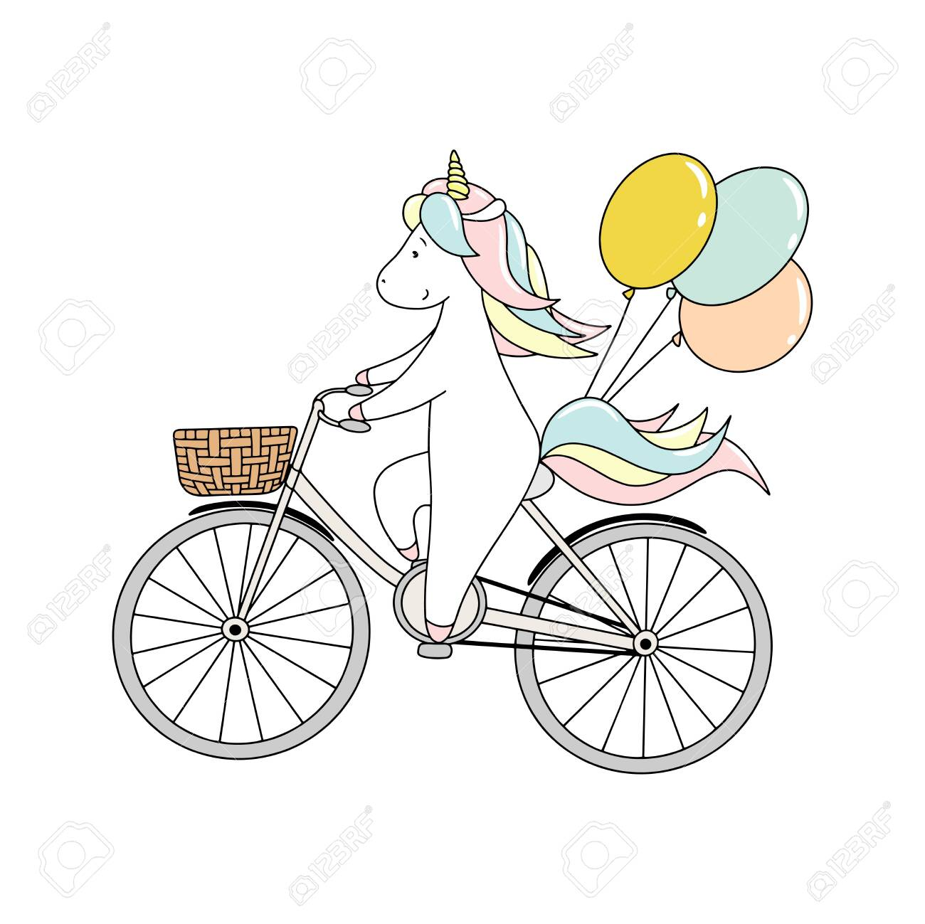 Cute little unicorn is riding a bicycle with balloons. Hand drawn vector illustration - 128663171