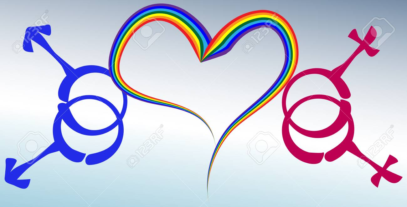 A Heart Drawn By A Rainbow And Symbols Of Male And Female Same Sex