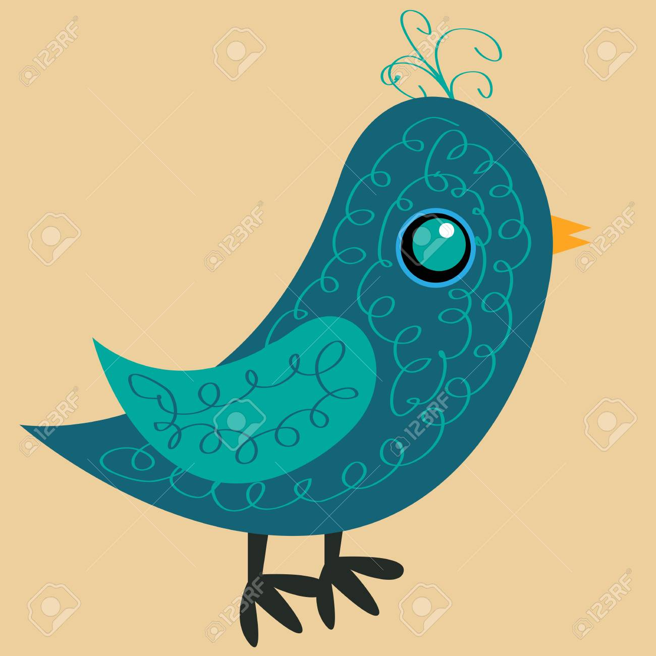 Nice blue bird with a pattern on the body, a yellow beak and a blue eye, a side view - 88321364