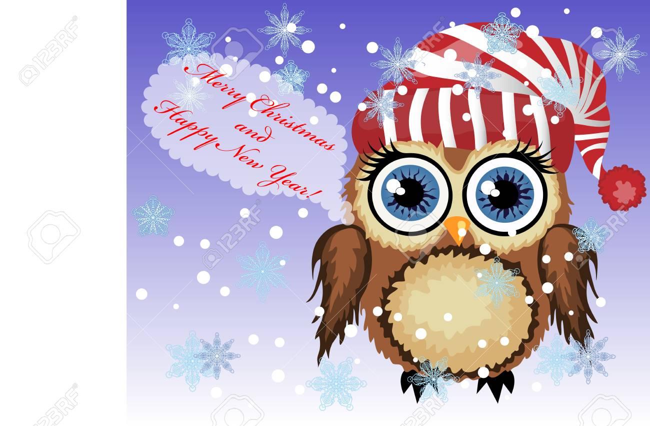 Hübsche Karikatur-kokette Eule Sagen Glückliche Frohe Weihnachten ...
