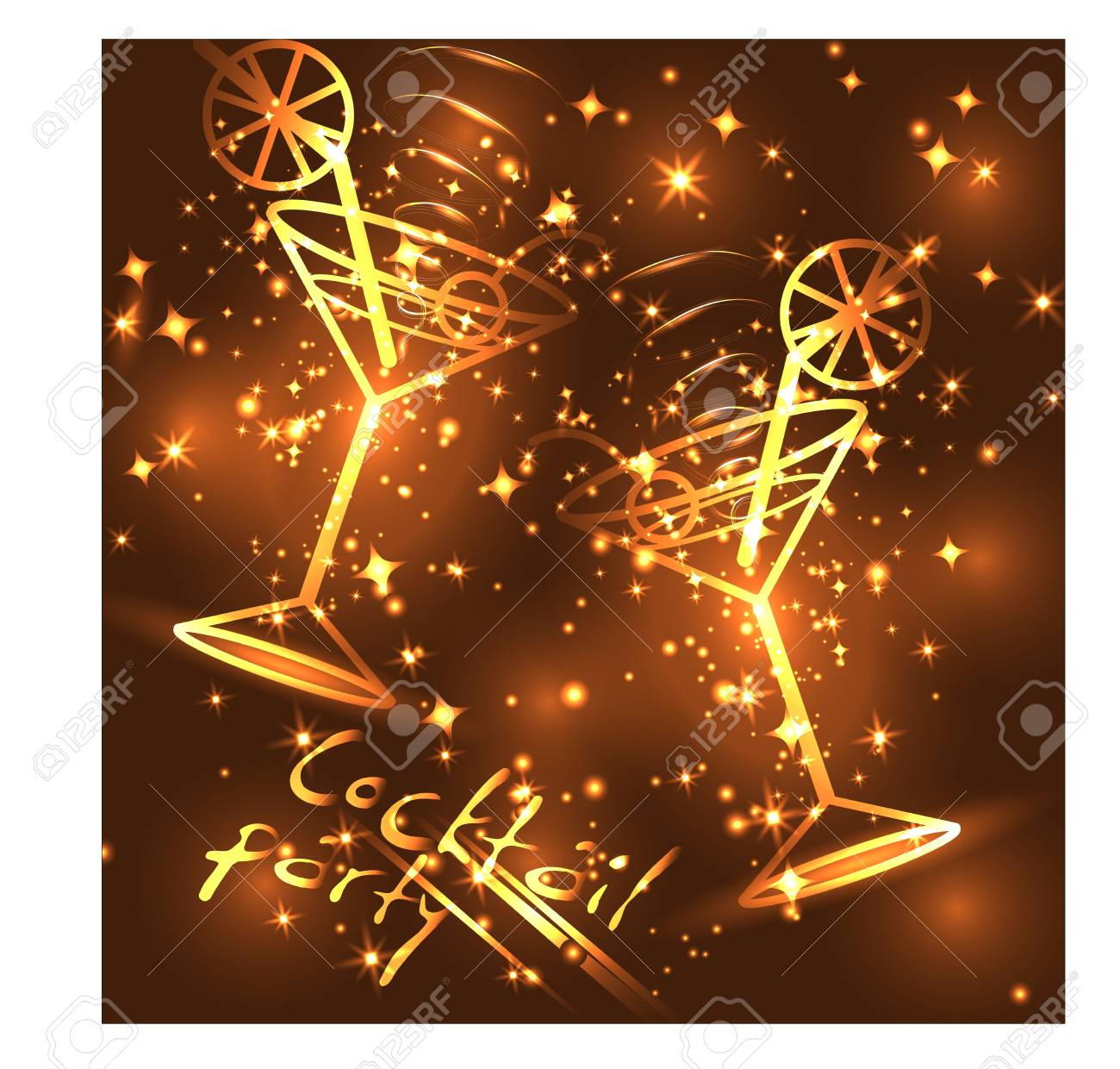 04c4f92ea664 Golden outline of glasses with a cocktail on a brown background with stars  and lights