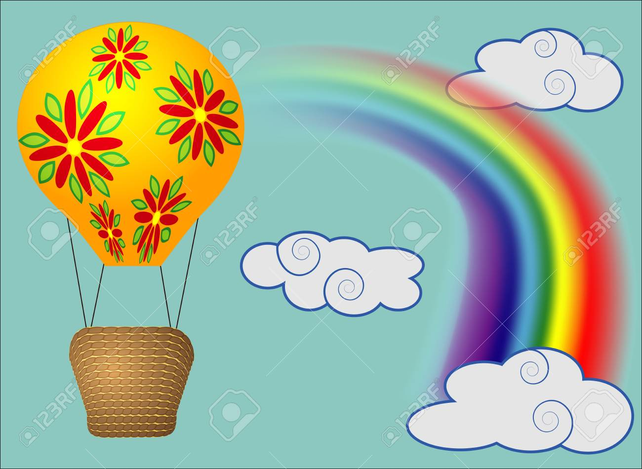 Bright, cartoon, high volume balloon with a basket in the sky