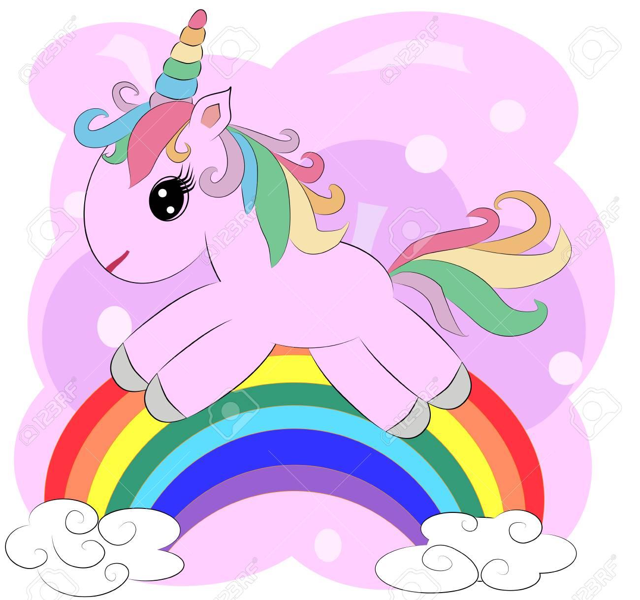 A little pink cute cartoon Unicorn on a rainbow  Postcard, spring,