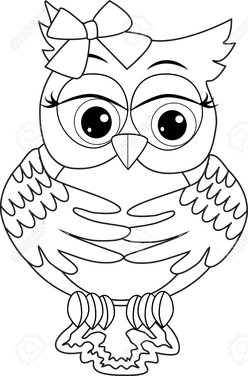 - Coloring Page With Cute Owl. Outline Drawing Royalty Free Cliparts