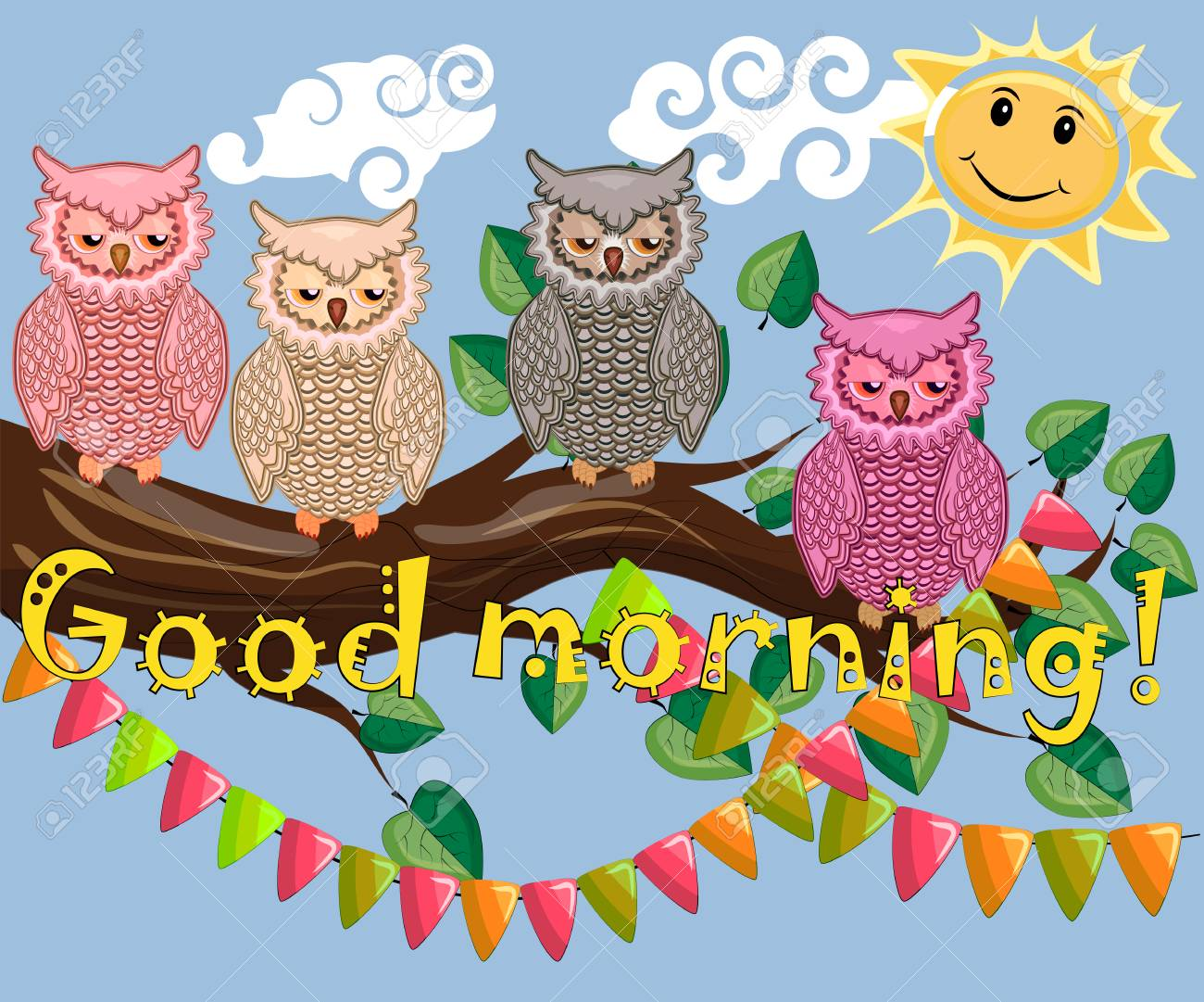 Good Morning Greetings Text With Owl Design Royalty Free Cliparts