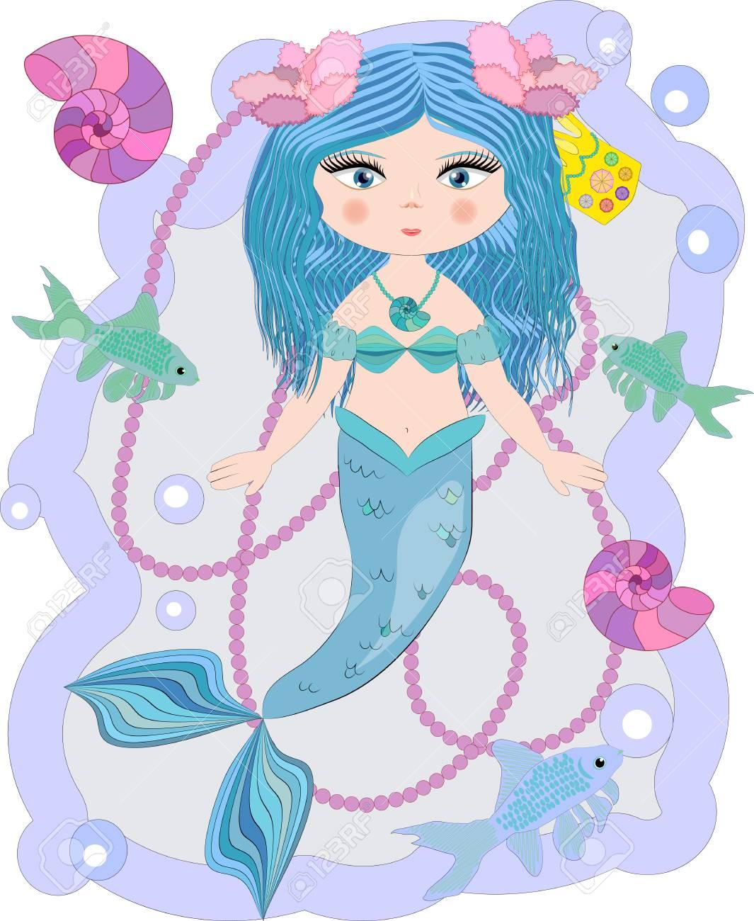 Cartoon Cute Little Mermaid Sea Princess Siren With Blue