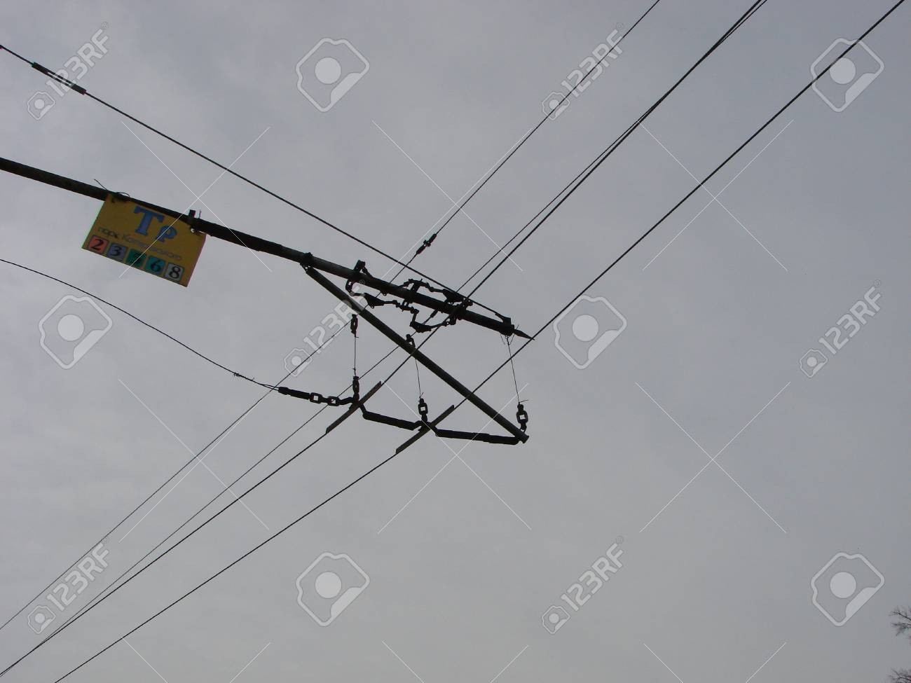 Wires Pole With Blue Sky. Electrical Wires On A Background. Electric ...