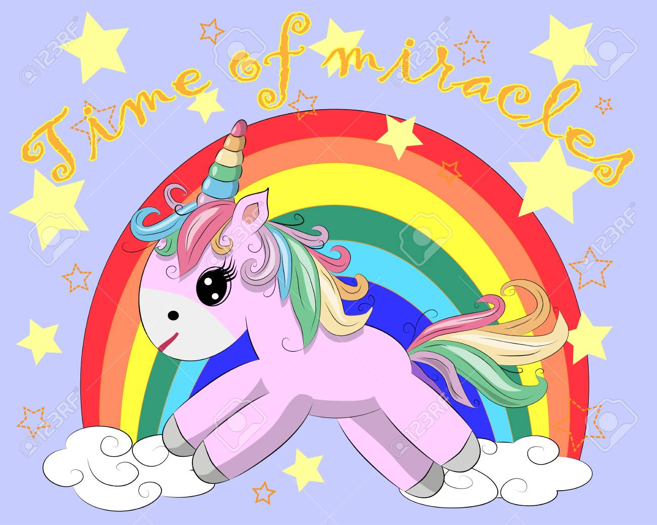 Colorful Unicorn And Rainbow With Inscription Time Of Miracles ...