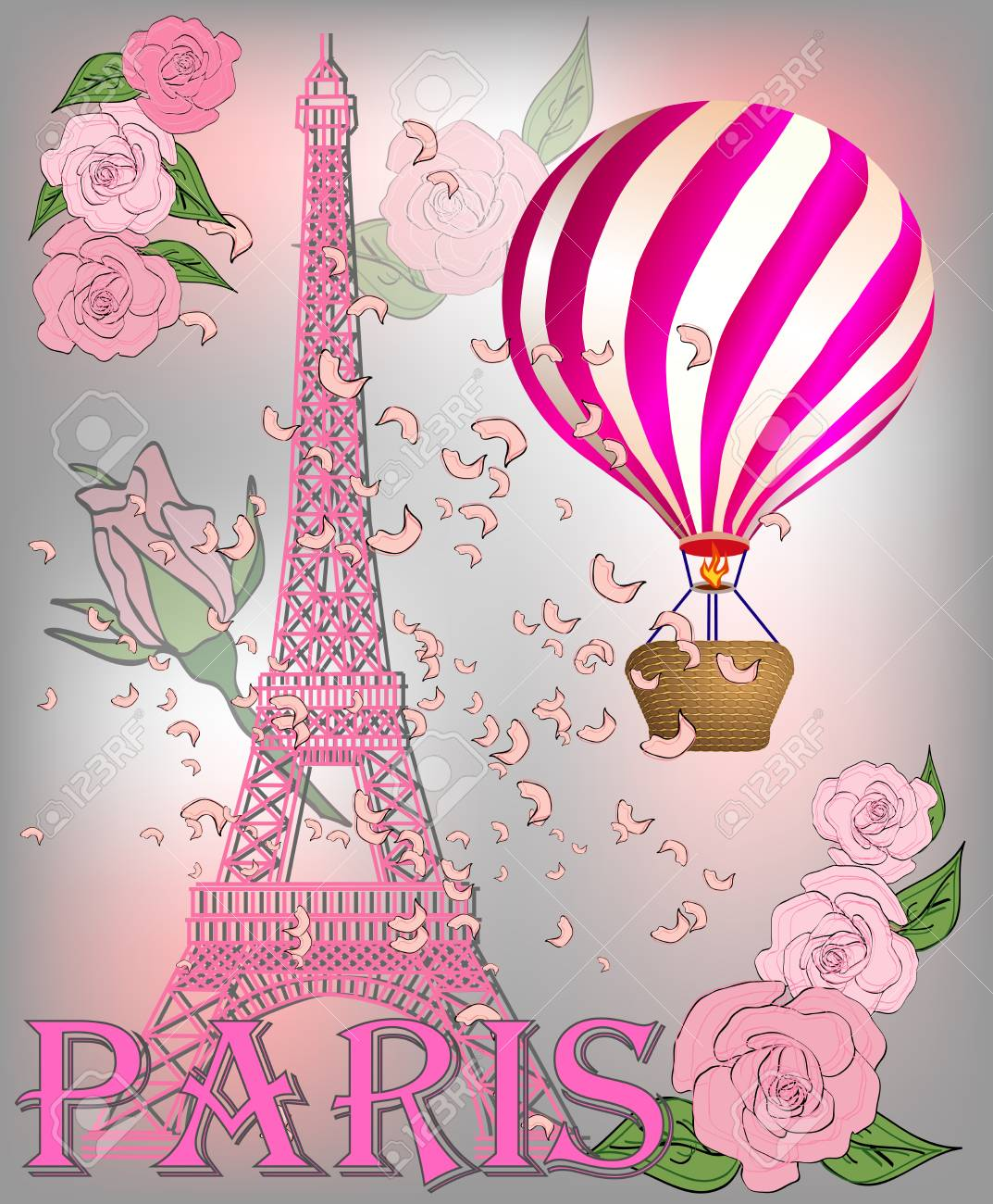 Vintage France Poster Design Romantic Background With Eiffel