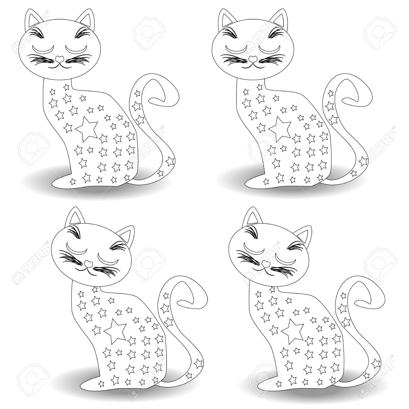 Coloring Page Outline Of cartoon fluffy cat. Coloring book for..