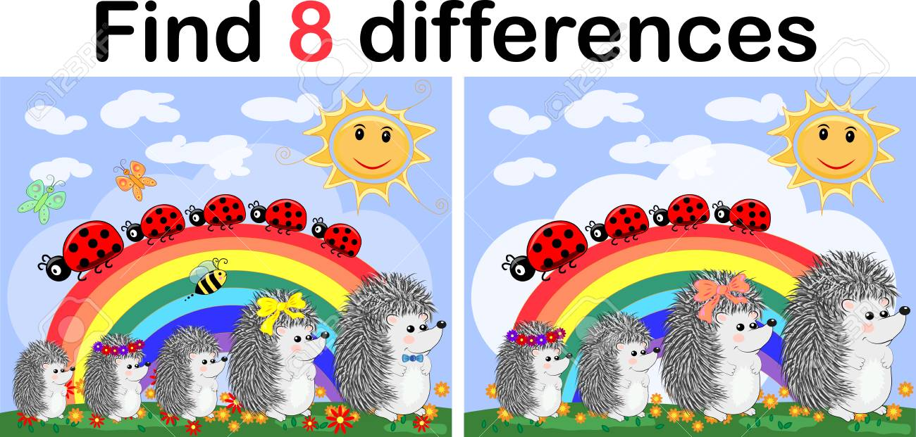 Find the differences between the pictures. Children's educational game. Hedgehogs on a sunny glade near the rainbow, ladybugs - 105658525