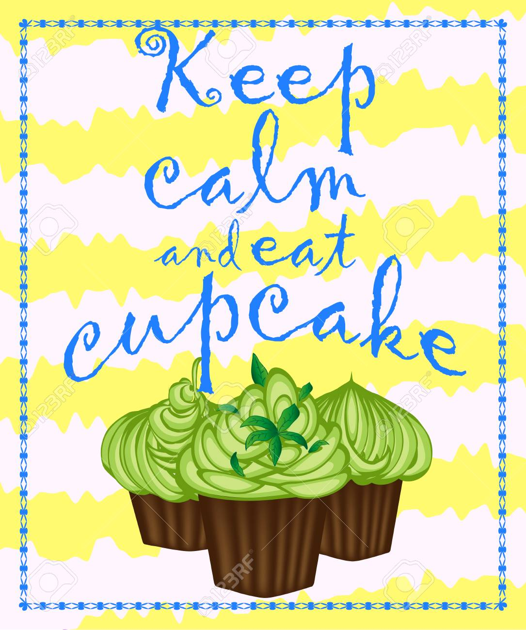 Decorative Card With Cupcakes And Positive Quote Keep Calm And