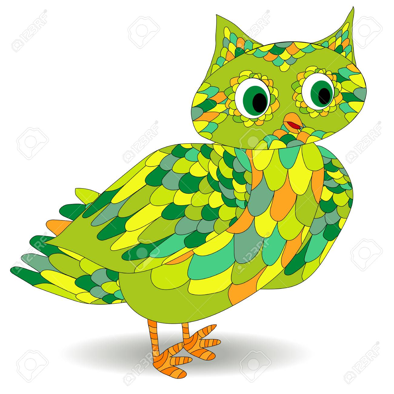 301cd1a25 owl in doodle style. Hand drawn vector set of cute birds. Design for prints
