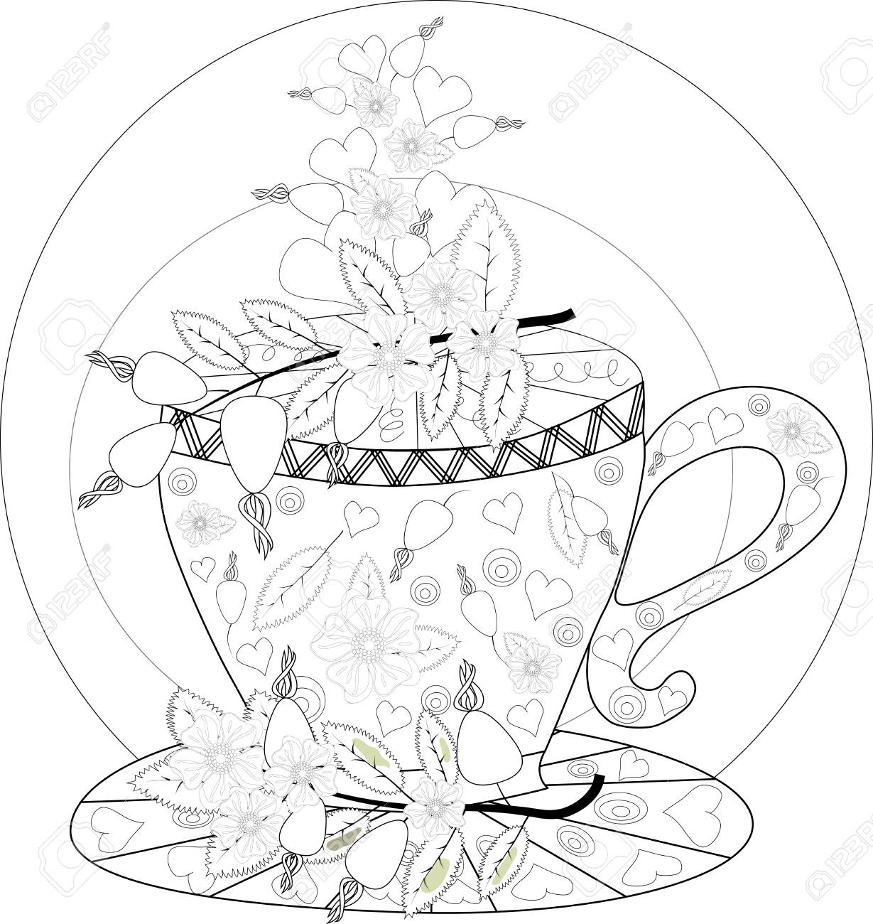 Hand Draw Vector Coloring Book For Adult. Teatime. Cups Of Tea ...