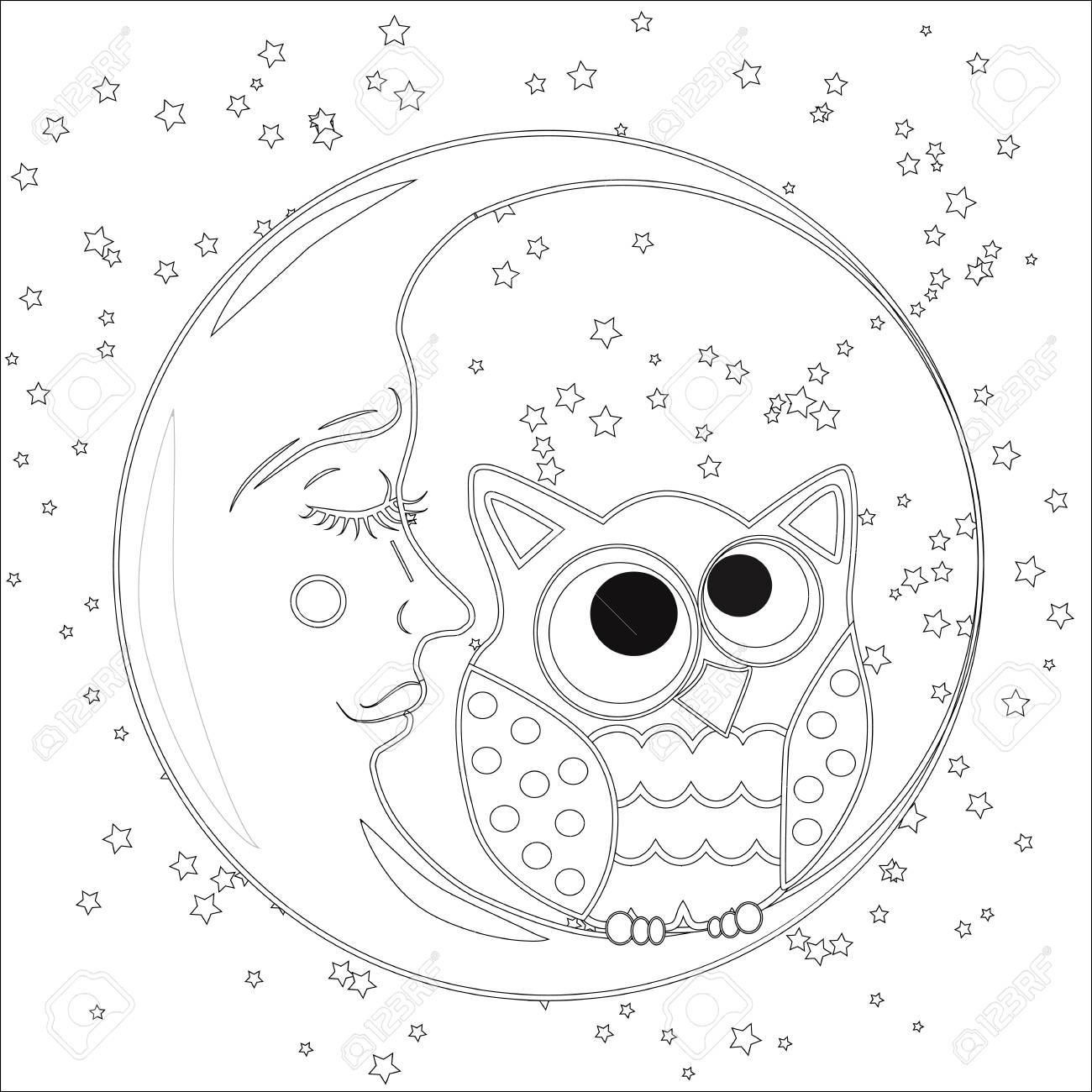 Adult Coloring Pages Sun Moon Images, Stock Photos & Vectors ... | 1300x1300