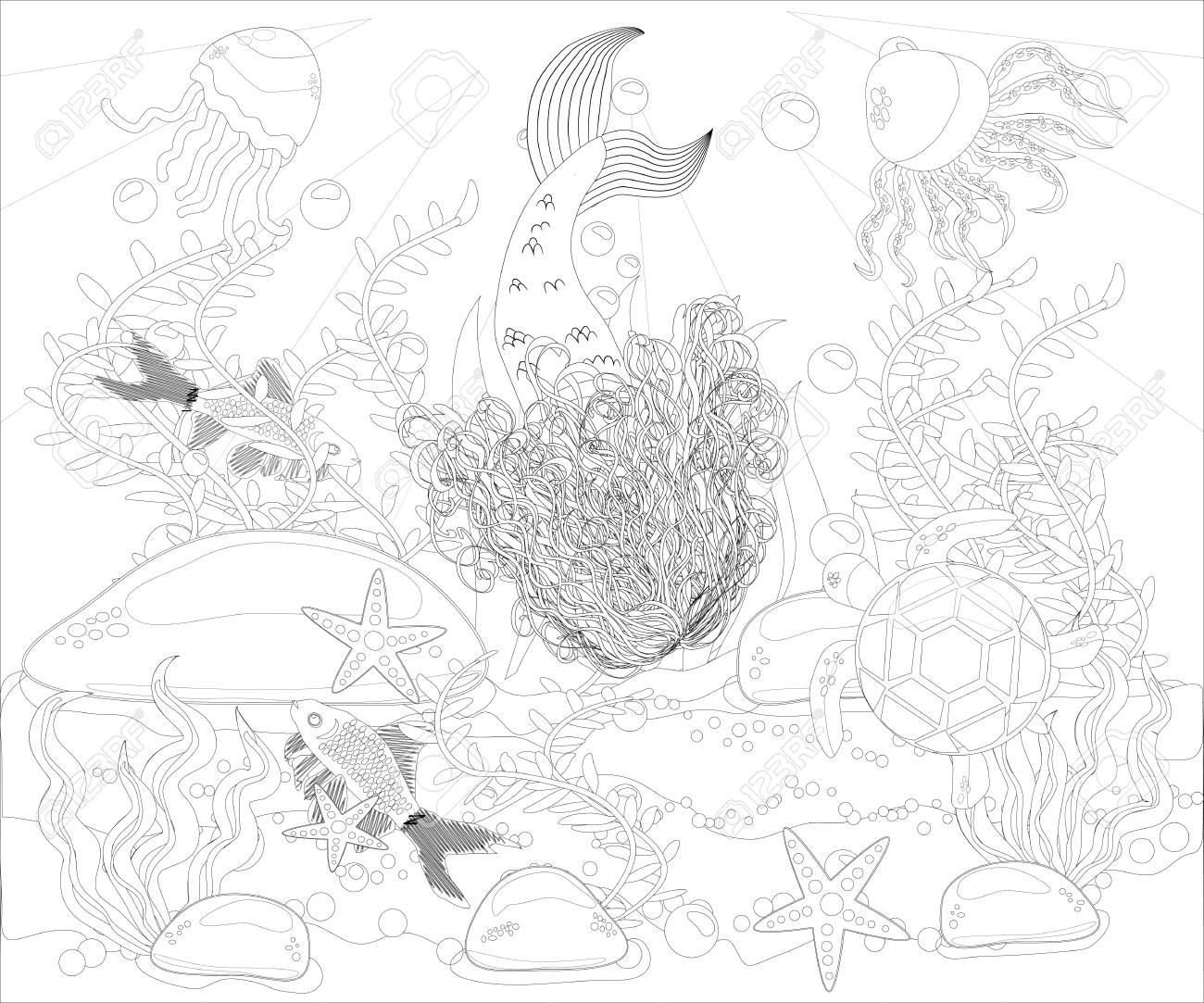Beautiful Mermaid. Underwater World. Anti Stress Coloring Book For ...