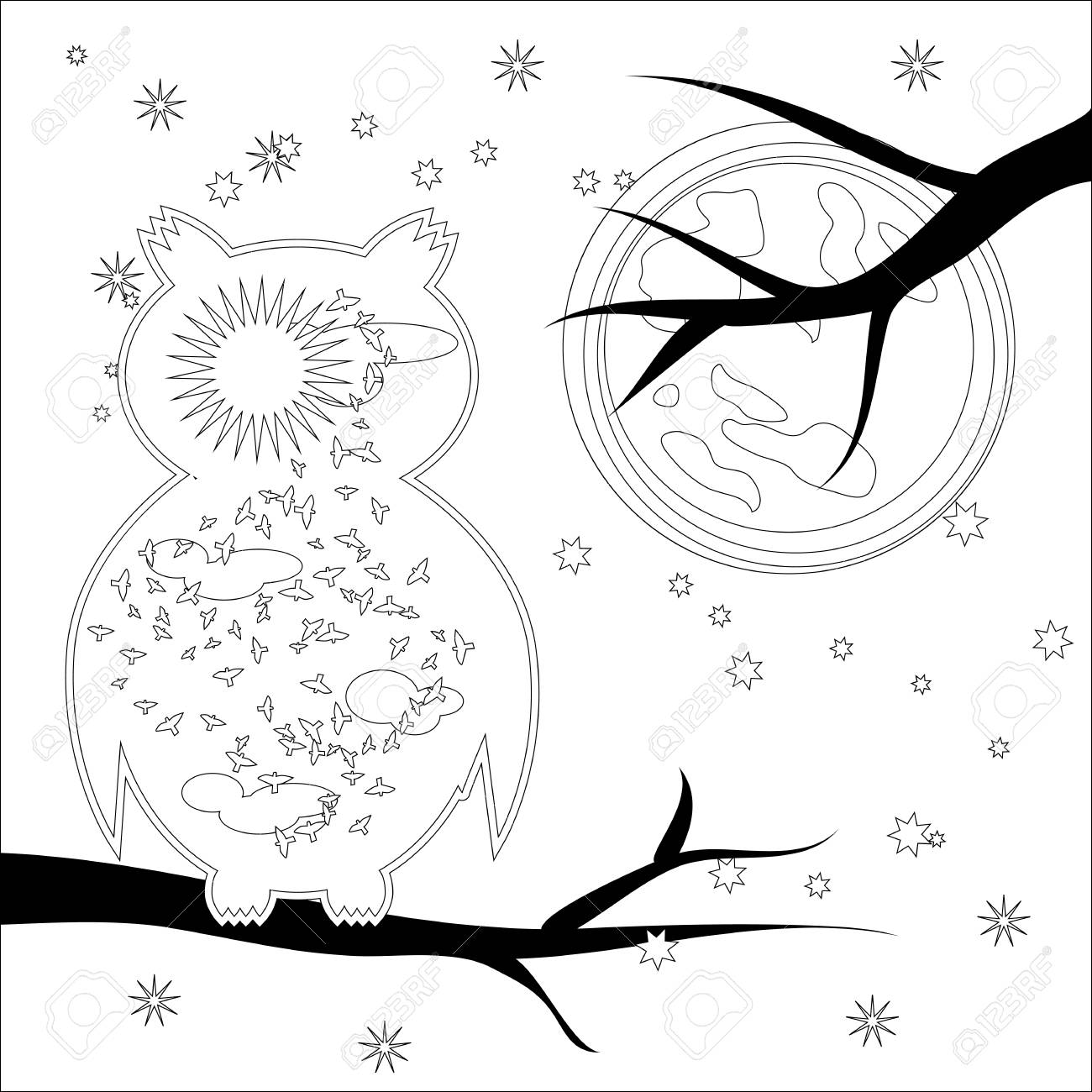 Coloring Page With Symbol Moon Sun Owl Coloring Book For Adult