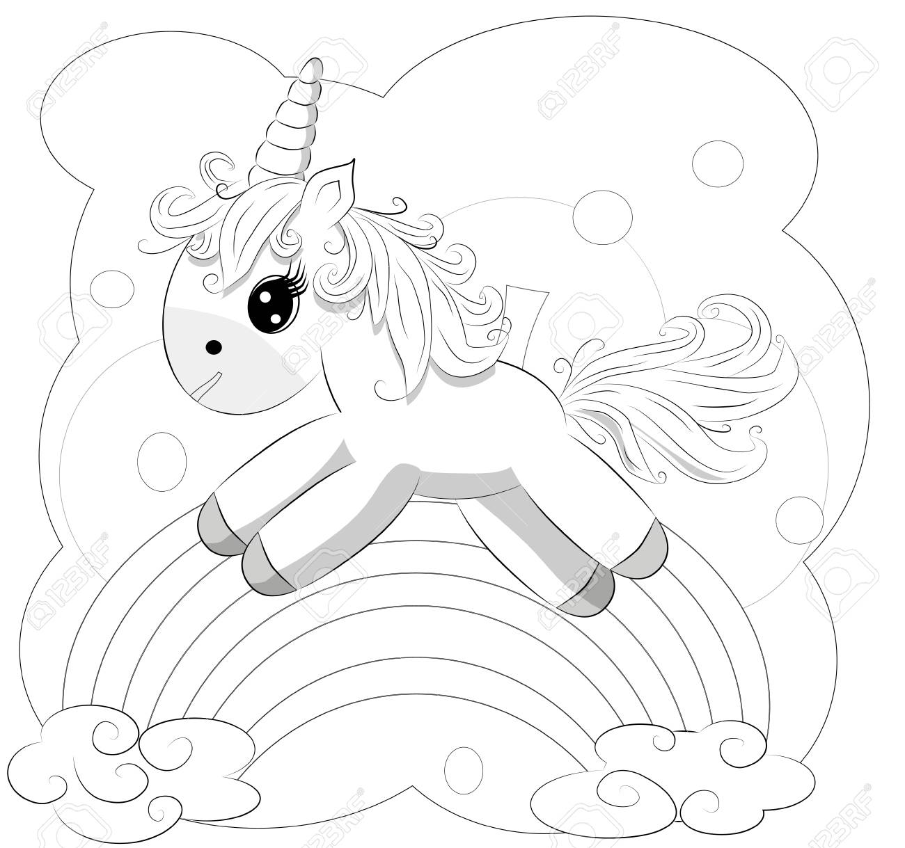Coloring Pages. Little Cute Pony And Rainbow Royalty Free Cliparts ...