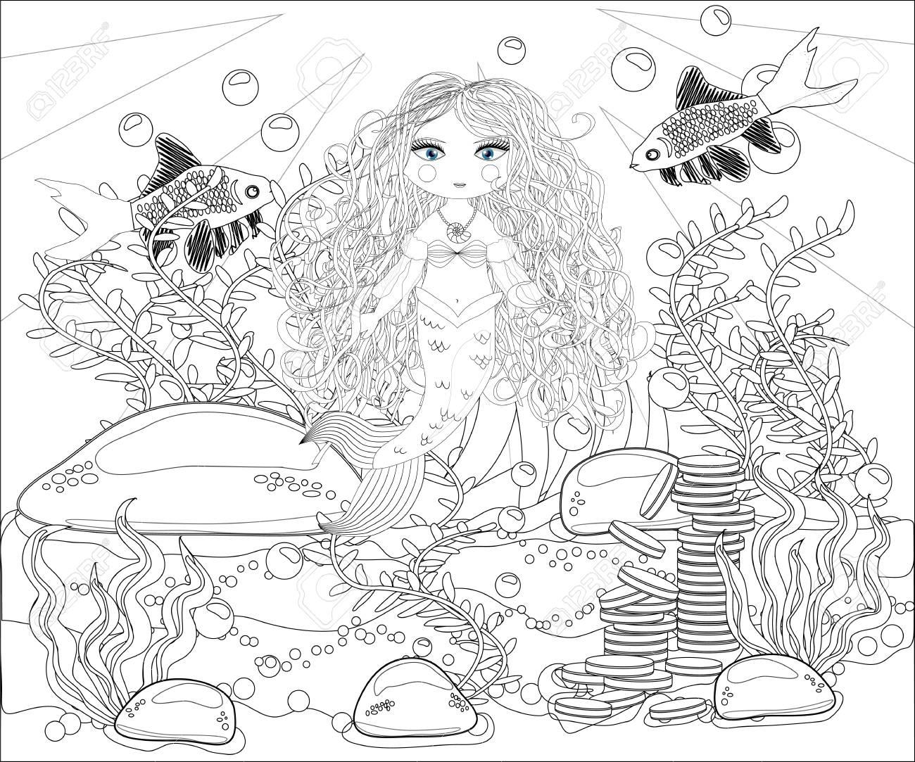 Beautiful Mermaid Underwater World Anti Stress Coloring Book