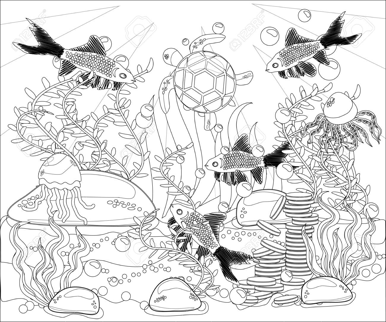 - Underwater World. Anti Stress Coloring Book For Adult. Outline