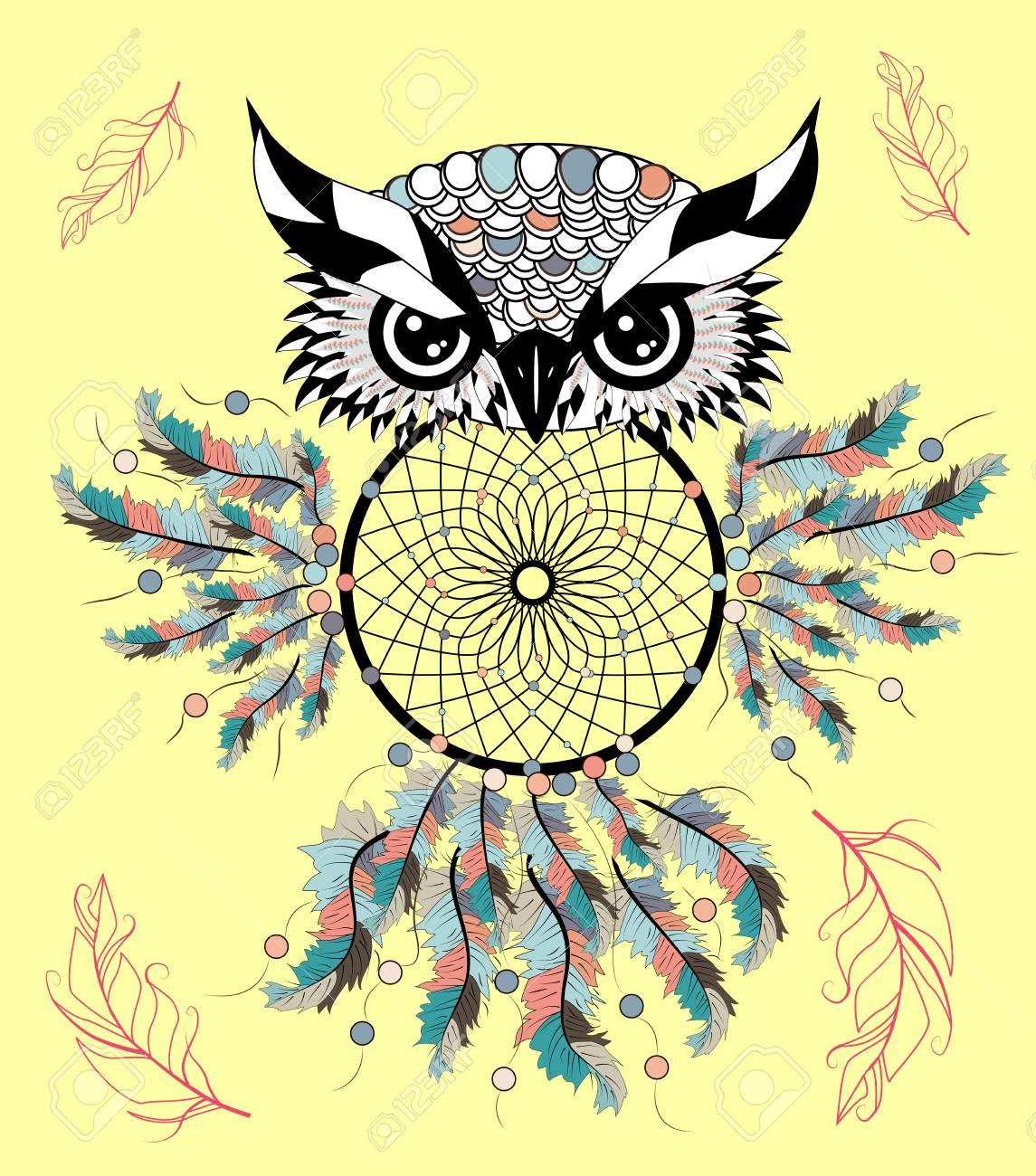 Dreamcatcher Owl Tattoo Art Mystic Symbol Abstract Feathers